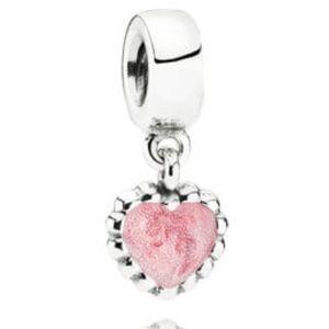 Pandora Young Love Pink Enamel Heart Dangle Charm